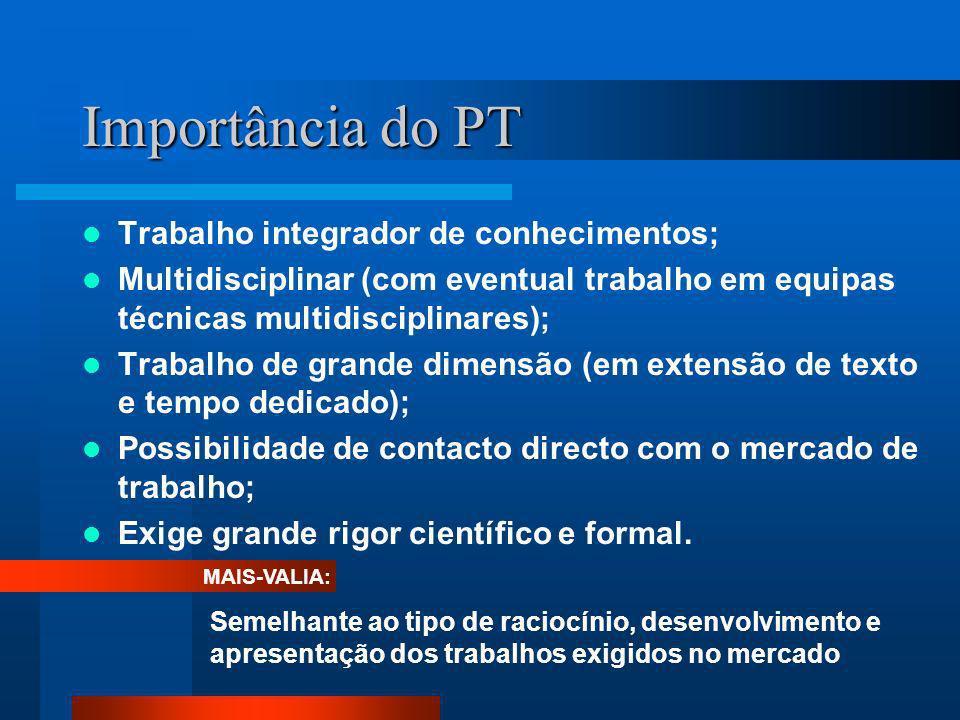 Importância do PT Trabalho integrador de conhecimentos; Multidisciplinar (com eventual trabalho em equipas técnicas multidisciplinares); Trabalho de g