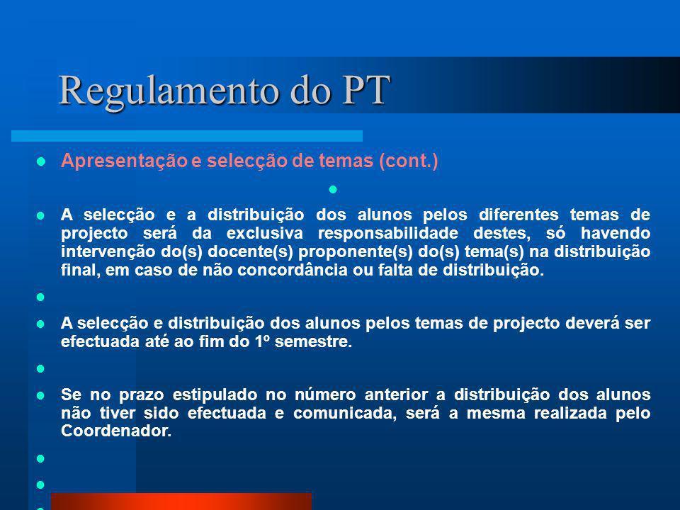 Regulamento do PT Apresentação e selecção de temas (cont.) A selecção e a distribuição dos alunos pelos diferentes temas de projecto será da exclusiva