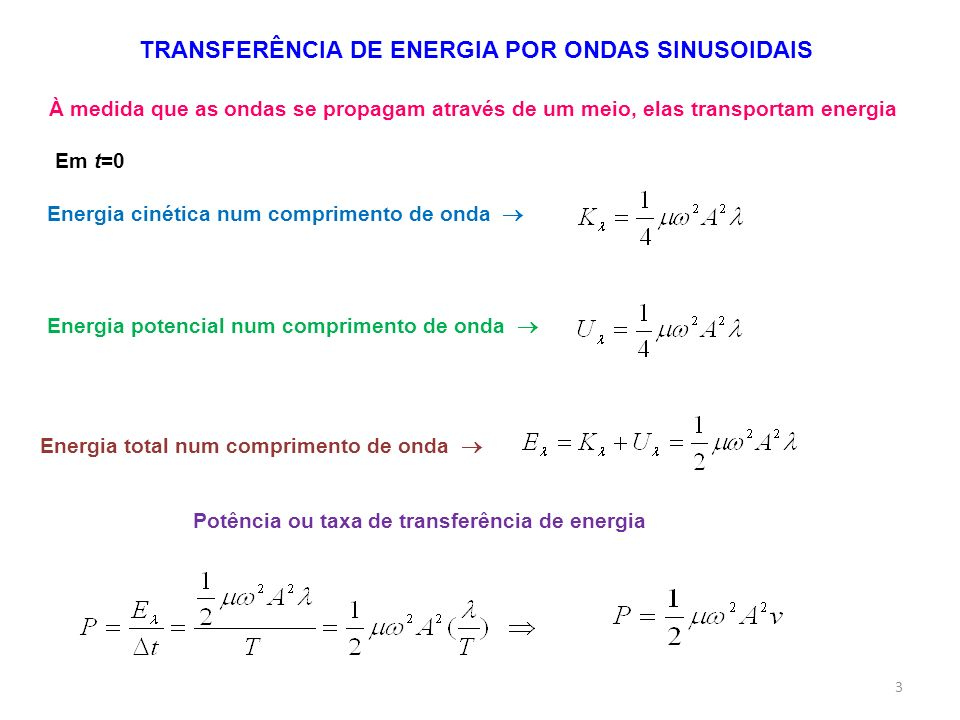 TRANSFERÊNCIA DE ENERGIA POR ONDAS SINUSOIDAIS À medida que as ondas se propagam através de um meio, elas transportam energia Energia cinética num com
