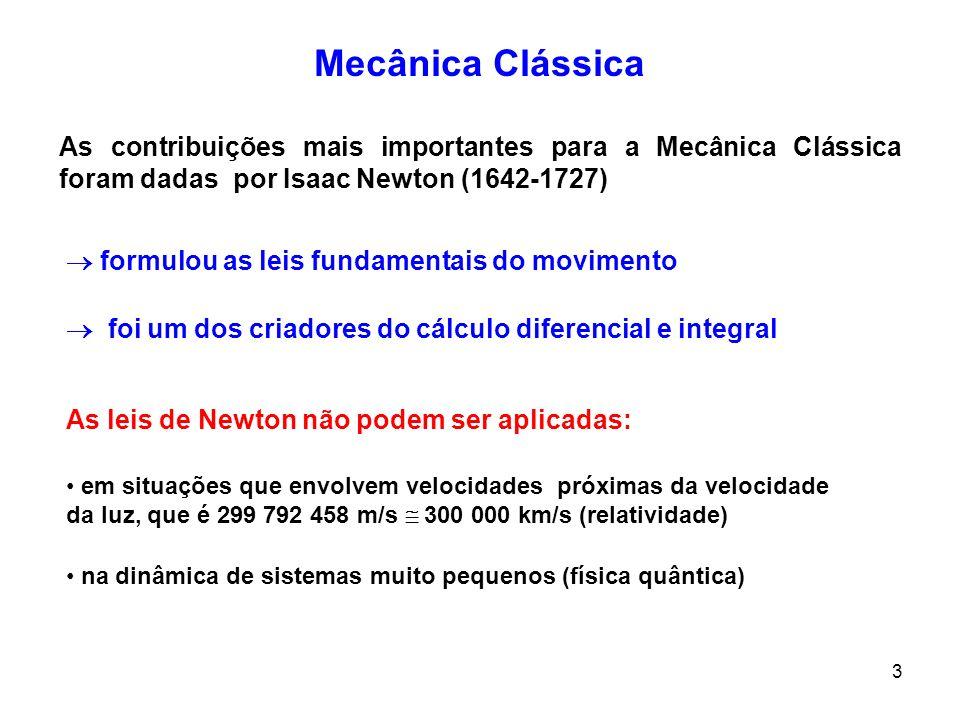 444 MECÂNICA CLÁSSICA CINEMÁTICA DINAMICA estuda os movimentos sem levar em conta as causas do movimento estuda as forças e os movimentos originados por essas forças Força (Mecânica Newtoniana)