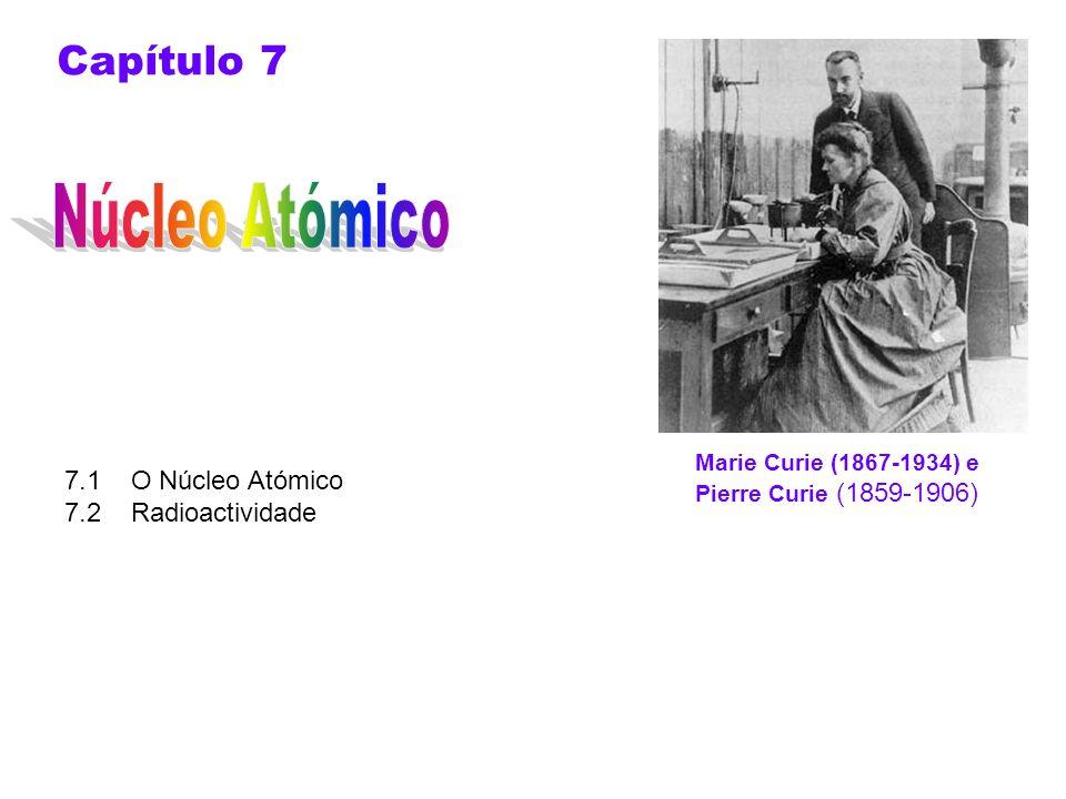 7.1 O Núcleo Atómico 1911: Rutherford propôs a estrutura atómica com um núcleo massivo, ou seja, com uma carga positiva concentrada no centro do átomo O Raio do núcleo é 10 mil vezes menor que o raio do átomo, mas contém mais de 99,9 % da massa deste átomo 1932 é o ano que marca o início da Física Nuclear Moderna Em 1932 James Chadwick (1891-1974) físico britânico e colaborador de Rutherford provou a existência do neutrão.