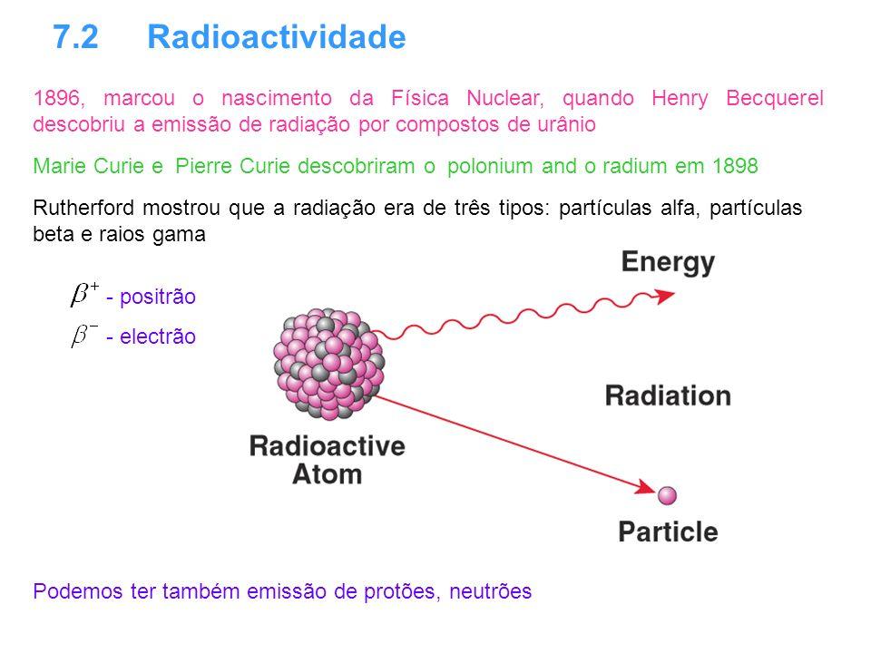 7.2 Radioactividade 1896, marcou o nascimento da Física Nuclear, quando Henry Becquerel descobriu a emissão de radiação por compostos de urânio Ruther