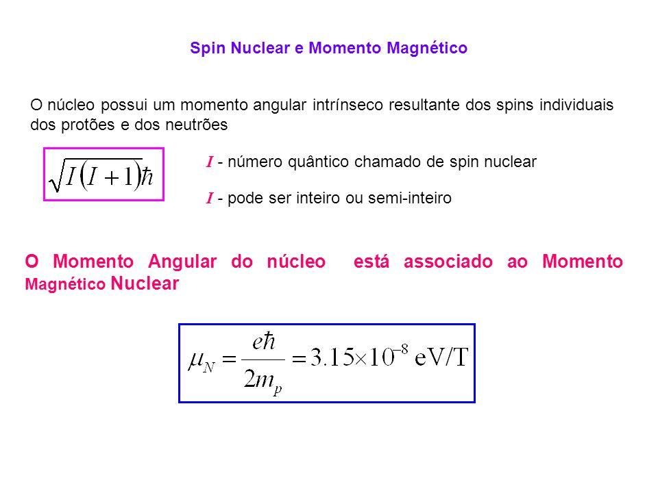 Spin Nuclear e Momento Magnético O núcleo possui um momento angular intrínseco resultante dos spins individuais dos protões e dos neutrões I - número