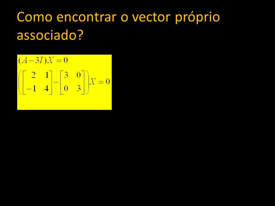 Como encontrar o vector próprio associado?