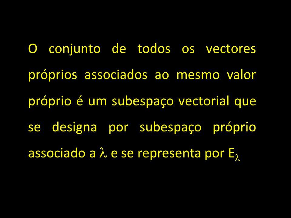 O conjunto de todos os vectores próprios associados ao mesmo valor próprio é um subespaço vectorial que se designa por subespaço próprio associado a e