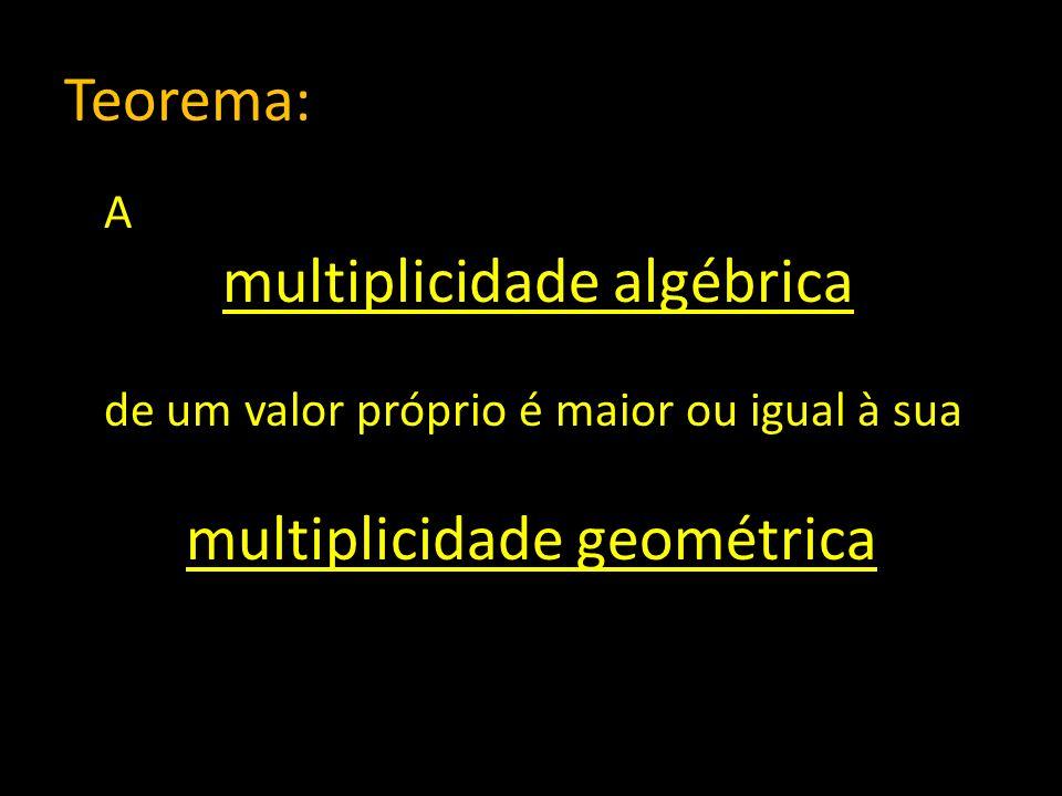 Teorema: A multiplicidade algébrica de um valor próprio é maior ou igual à sua multiplicidade geométrica