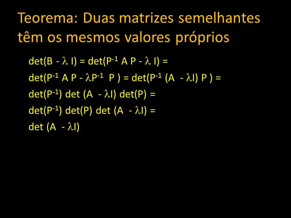 Teorema: Duas matrizes semelhantes têm os mesmos valores próprios det(B - I) = det(P -1 A P - I) = det(P -1 A P - P -1 P ) = det(P -1 (A - I) P ) = de