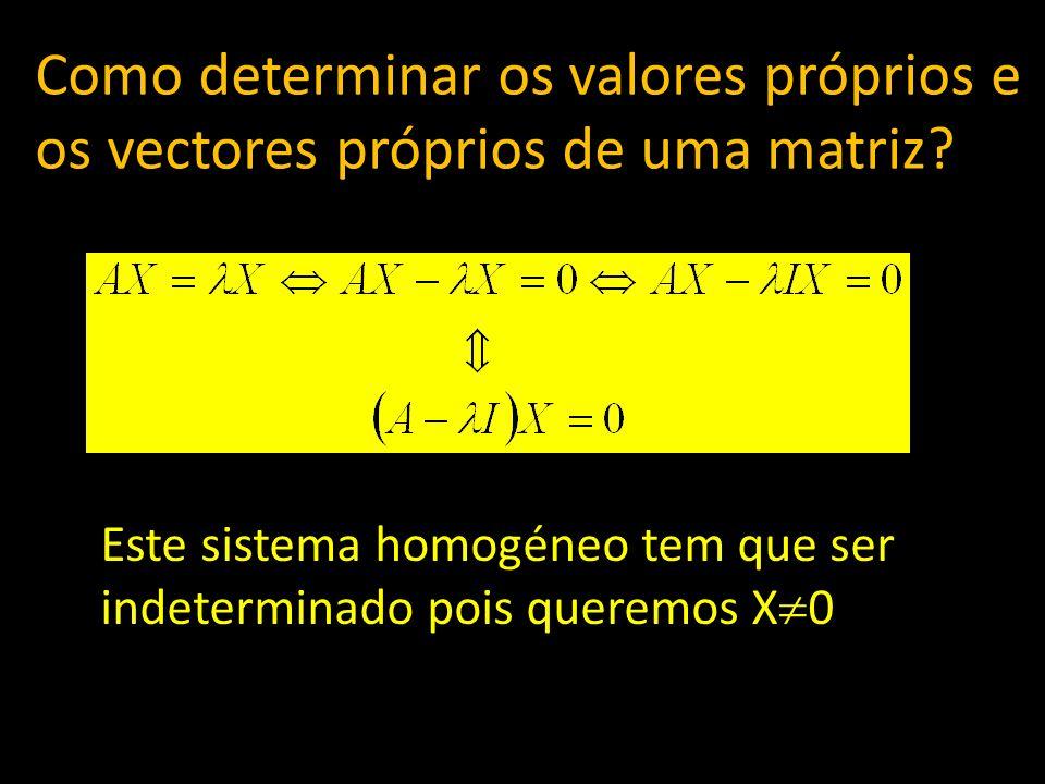 Este sistema homogéneo tem que ser indeterminado pois queremos X 0