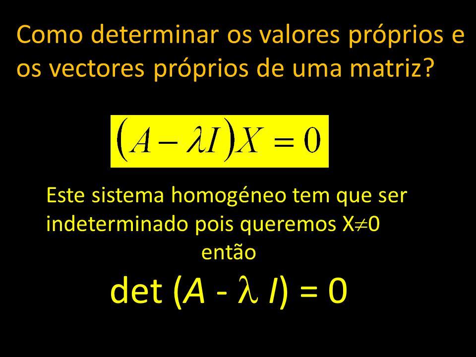 Como determinar os valores próprios e os vectores próprios de uma matriz? Este sistema homogéneo tem que ser indeterminado pois queremos X 0 então det