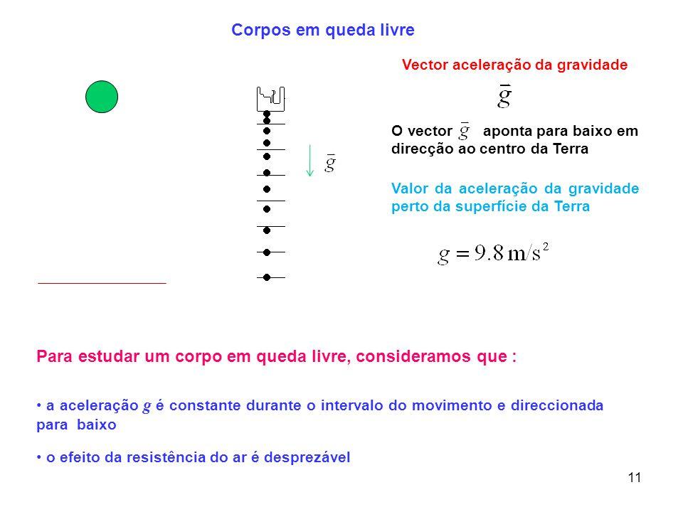 11 Para estudar um corpo em queda livre, consideramos que : a aceleração g é constante durante o intervalo do movimento e direccionada para baixo o ef
