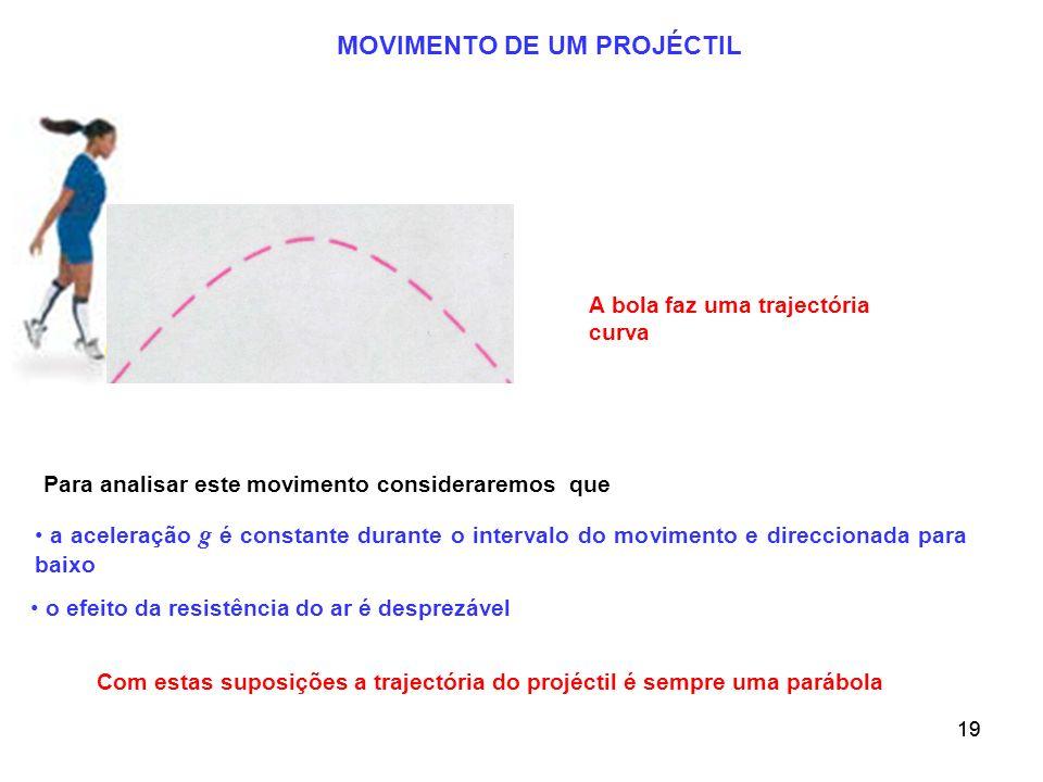 19 MOVIMENTO DE UM PROJÉCTIL A bola faz uma trajectória curva Para analisar este movimento consideraremos que a aceleração g é constante durante o int
