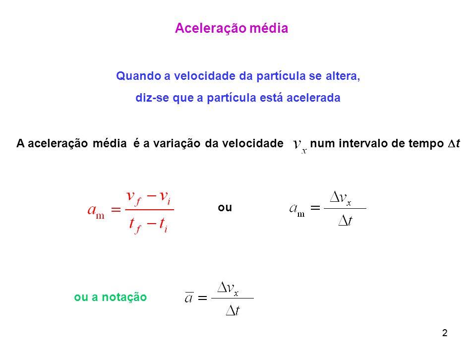 22 Aceleração média Quando a velocidade da partícula se altera, diz-se que a partícula está acelerada A aceleração média é a variação da velocidade nu