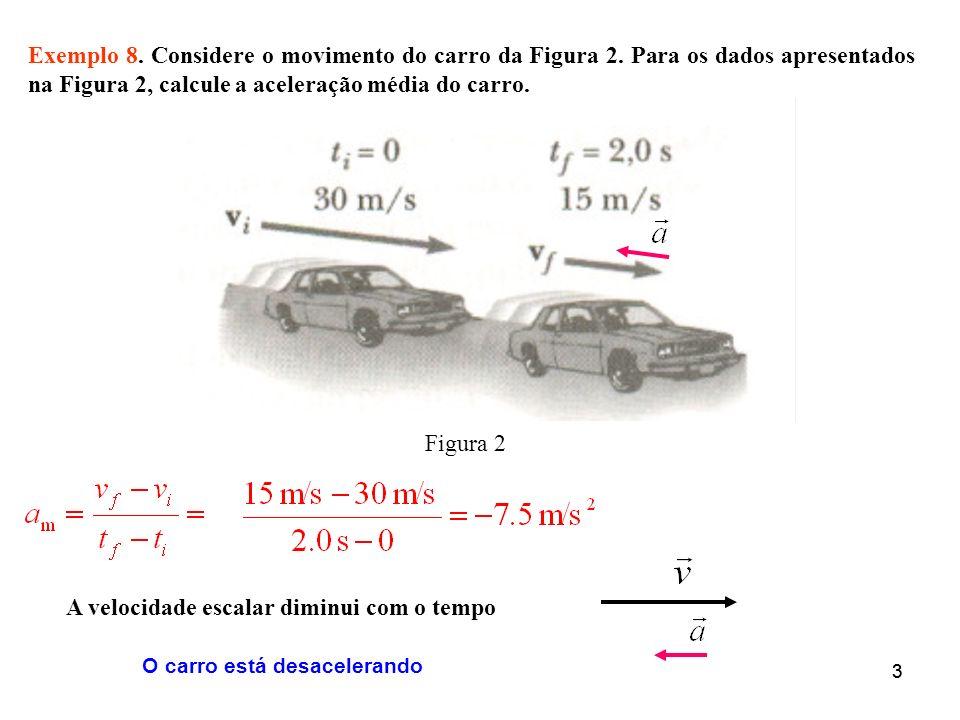 33 Exemplo 8. Considere o movimento do carro da Figura 2. Para os dados apresentados na Figura 2, calcule a aceleração média do carro. Figura 2 A velo