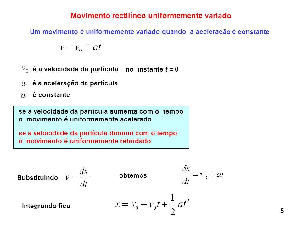 55 Movimento rectilíneo uniformemente variado Um movimento é uniformemente variado quando a aceleração é constante no instante t = 0 se a velocidade d