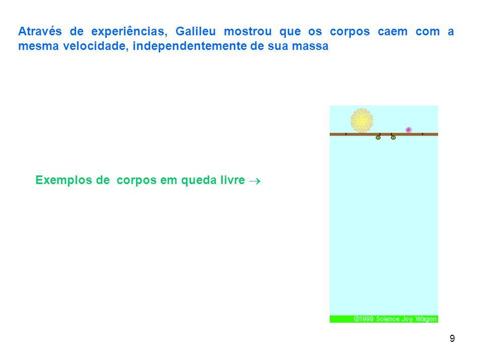 9 Exemplos de corpos em queda livre Através de experiências, Galileu mostrou que os corpos caem com a mesma velocidade, independentemente de sua massa