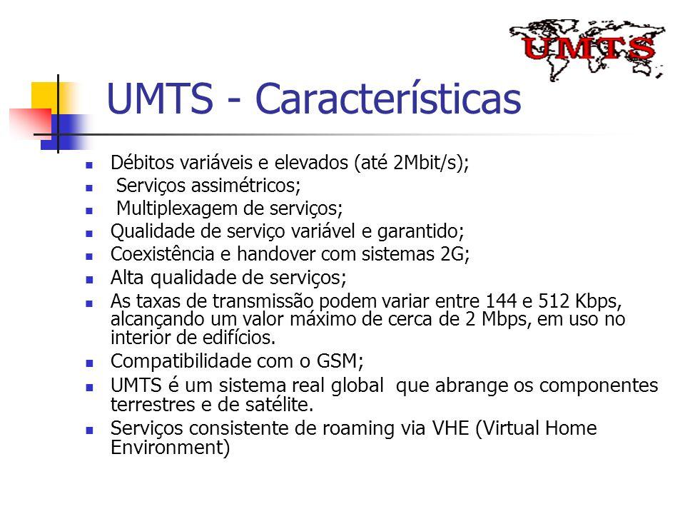 UMTS - Características Débitos variáveis e elevados (até 2Mbit/s); Serviços assimétricos; Multiplexagem de serviços; Qualidade de serviço variável e g