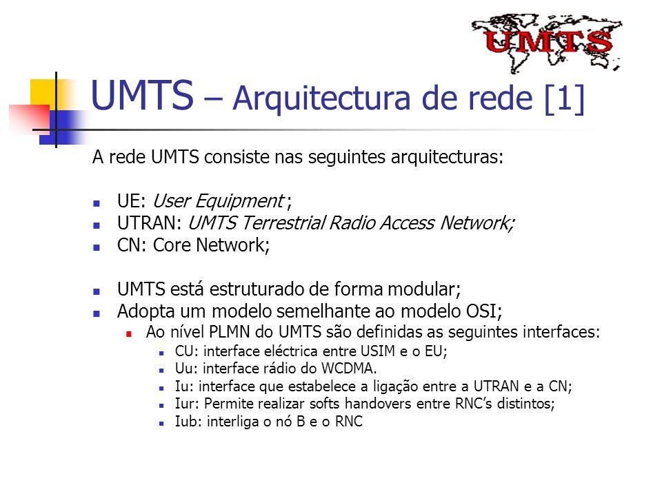 UMTS – Arquitectura de rede [1] A rede UMTS consiste nas seguintes arquitecturas: UE: User Equipment ; UTRAN: UMTS Terrestrial Radio Access Network; C