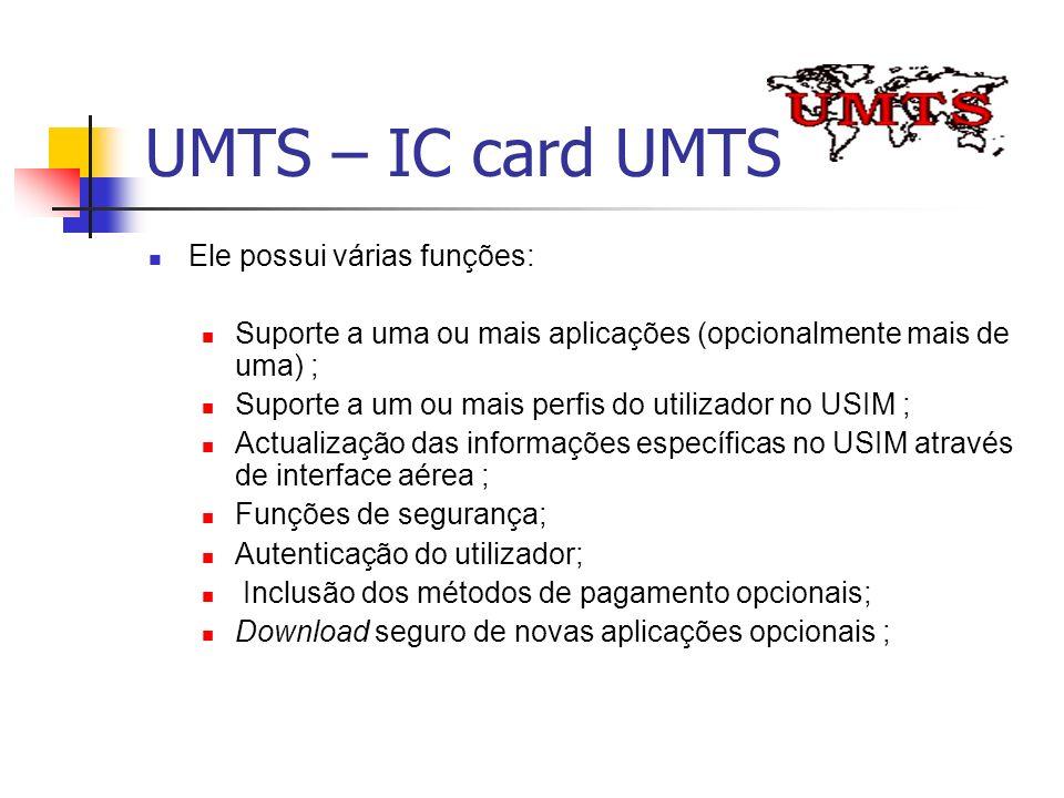 UMTS – IC card UMTS Ele possui várias funções: Suporte a uma ou mais aplicações (opcionalmente mais de uma) ; Suporte a um ou mais perfis do utilizado