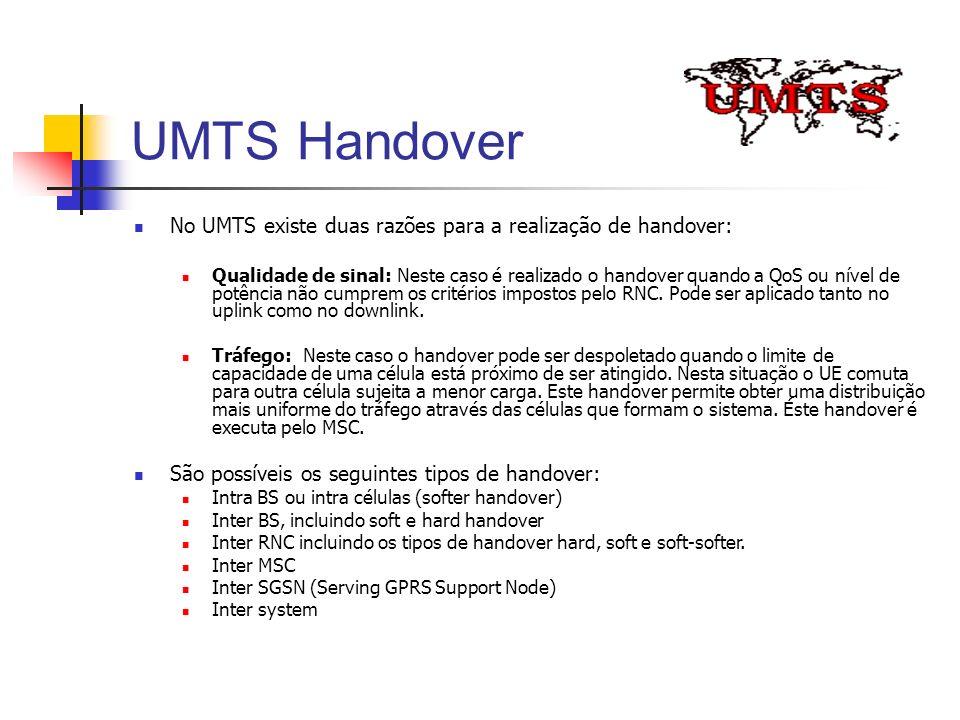 UMTS Handover No UMTS existe duas razões para a realização de handover: Qualidade de sinal: Neste caso é realizado o handover quando a QoS ou nível de