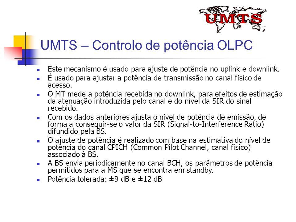UMTS – Controlo de potência OLPC Este mecanismo é usado para ajuste de potência no uplink e downlink. É usado para ajustar a potência de transmissão n