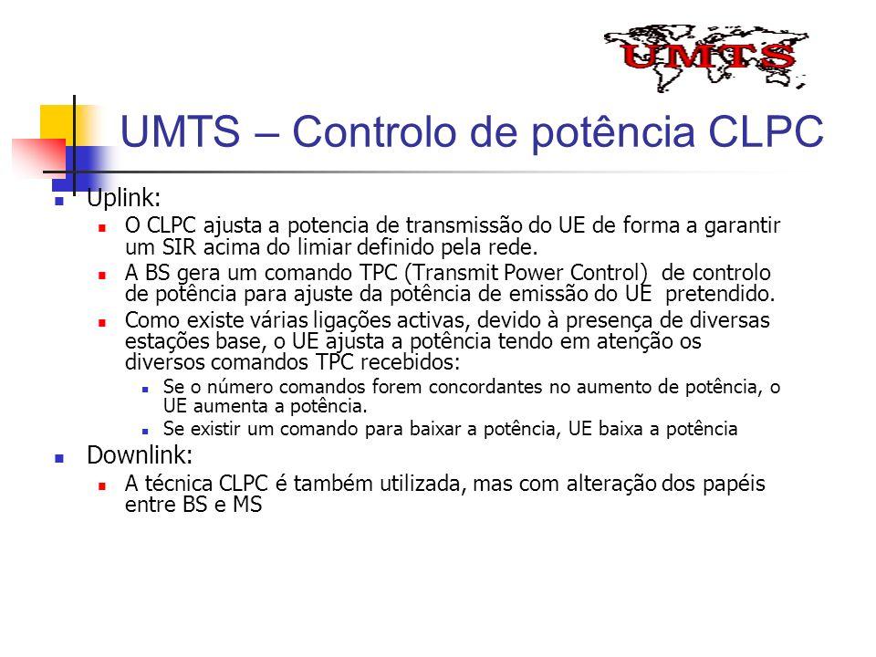 UMTS – Controlo de potência CLPC Uplink: O CLPC ajusta a potencia de transmissão do UE de forma a garantir um SIR acima do limiar definido pela rede.