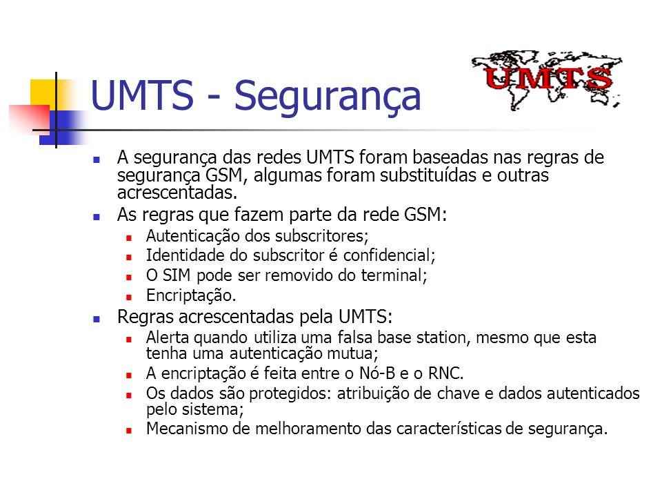 UMTS - Segurança A segurança das redes UMTS foram baseadas nas regras de segurança GSM, algumas foram substituídas e outras acrescentadas. As regras q