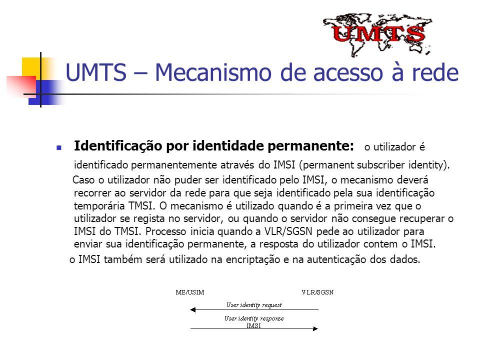 UMTS – Mecanismo de acesso à rede Identificação por identidade permanente: o utilizador é identificado permanentemente através do IMSI (permanent subs