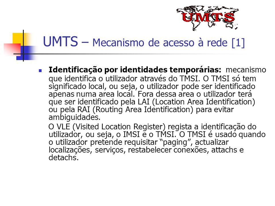 UMTS – Mecanismo de acesso à rede [1] Identificação por identidades temporárias: mecanismo que identifica o utilizador através do TMSI. O TMSI só tem