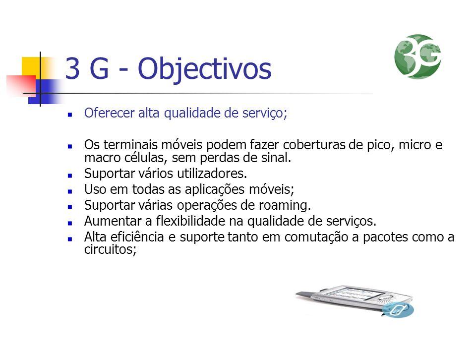 3 G - Objectivos Oferecer alta qualidade de serviço; Os terminais móveis podem fazer coberturas de pico, micro e macro células, sem perdas de sinal. S