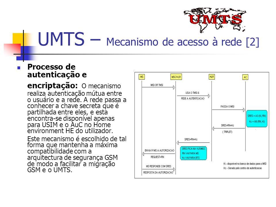 UMTS – Mecanismo de acesso à rede [2] Processo de autenticação e encriptação: O mecanismo realiza autenticação mútua entre o usuário e a rede. A rede