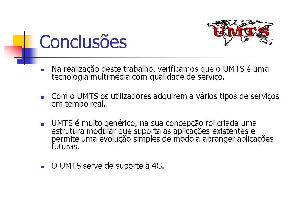 Conclusões Na realização deste trabalho, verificamos que o UMTS é uma tecnologia multimédia com qualidade de serviço. Com o UMTS os utilizadores adqui