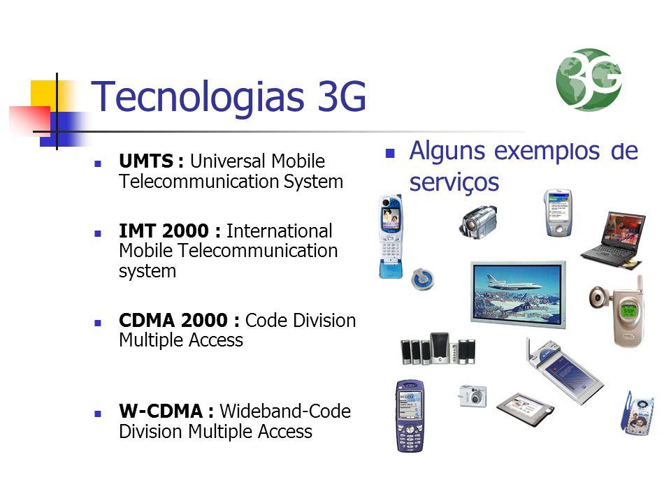 Tecnologias 3G UMTS : Universal Mobile Telecommunication System IMT 2000 : International Mobile Telecommunication system CDMA 2000 : Code Division Mul