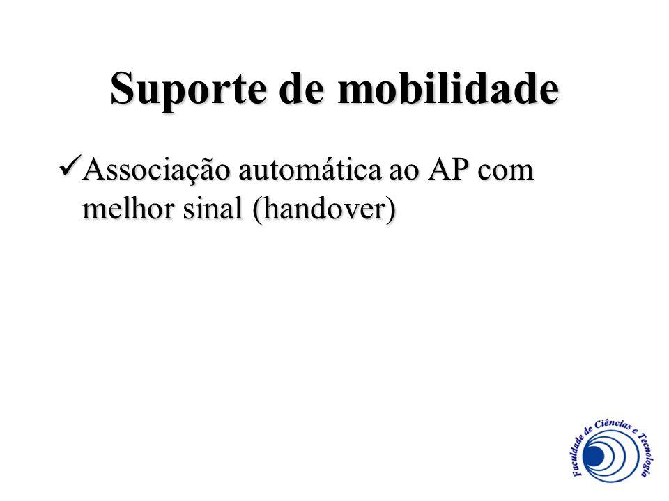 Suporte de mobilidade Associação automática ao AP com melhor sinal (handover) Associação automática ao AP com melhor sinal (handover)