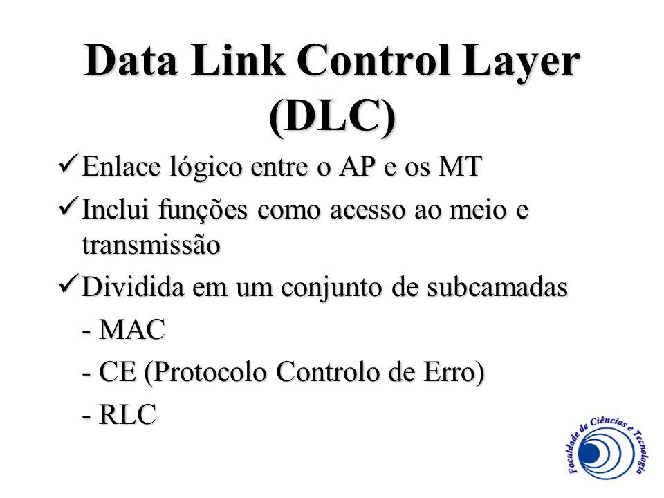 Data Link Control Layer (DLC) Enlace lógico entre o AP e os MT Enlace lógico entre o AP e os MT Inclui funções como acesso ao meio e transmissão Inclu