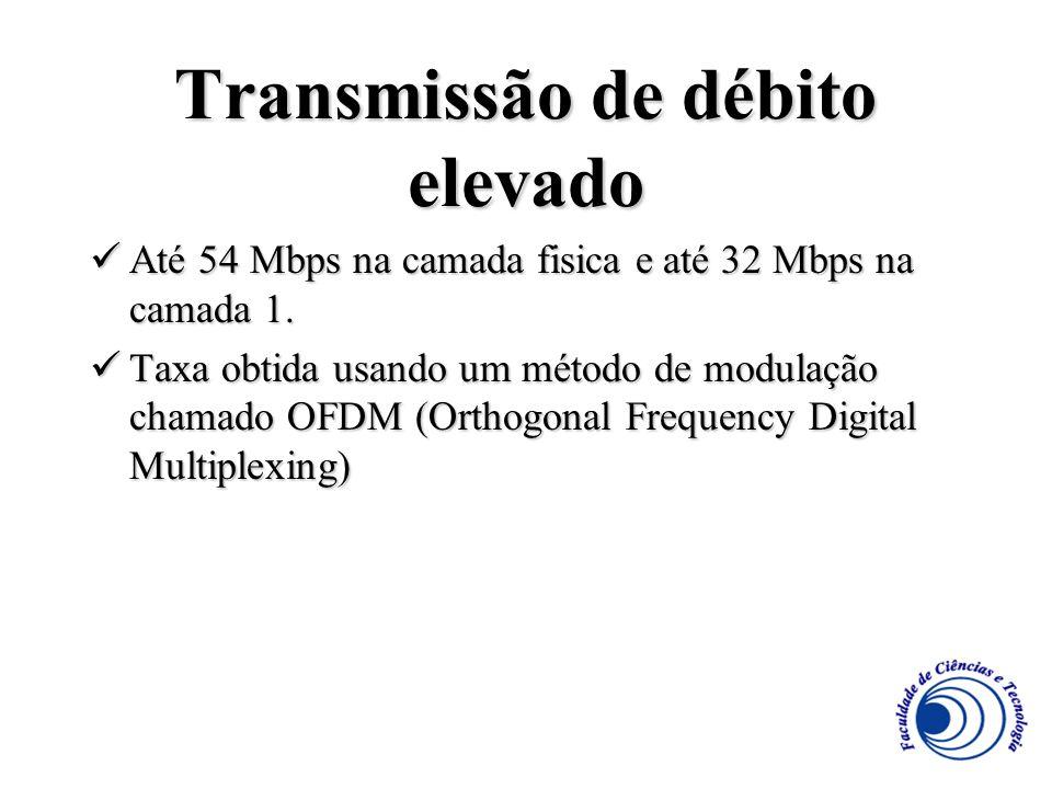 Transmissão de débito elevado Até 54 Mbps na camada fisica e até 32 Mbps na camada 1. Até 54 Mbps na camada fisica e até 32 Mbps na camada 1. Taxa obt