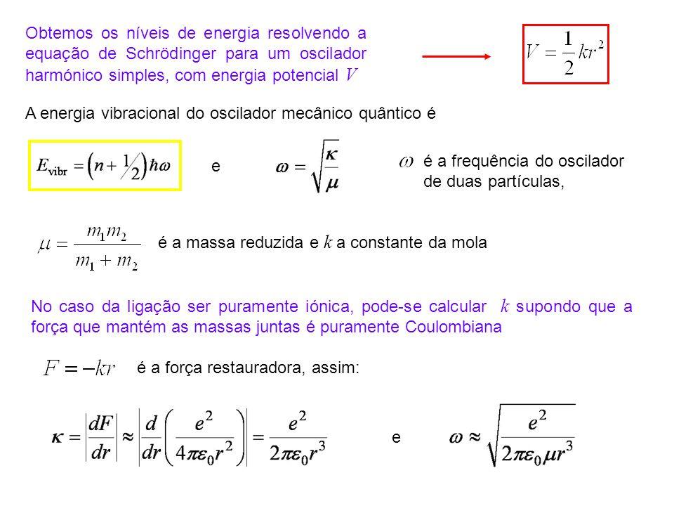 Obtemos os níveis de energia resolvendo a equação de Schrödinger para um oscilador harmónico simples, com energia potencial V é a frequência do oscila