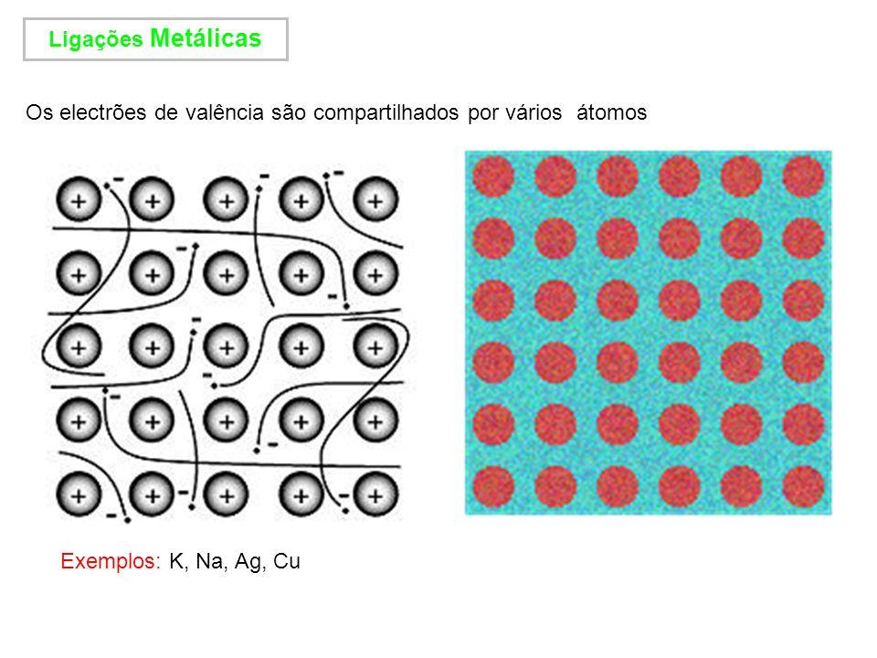Ligações Metálicas Os electrões de valência são compartilhados por vários átomos Exemplos: K, Na, Ag, Cu