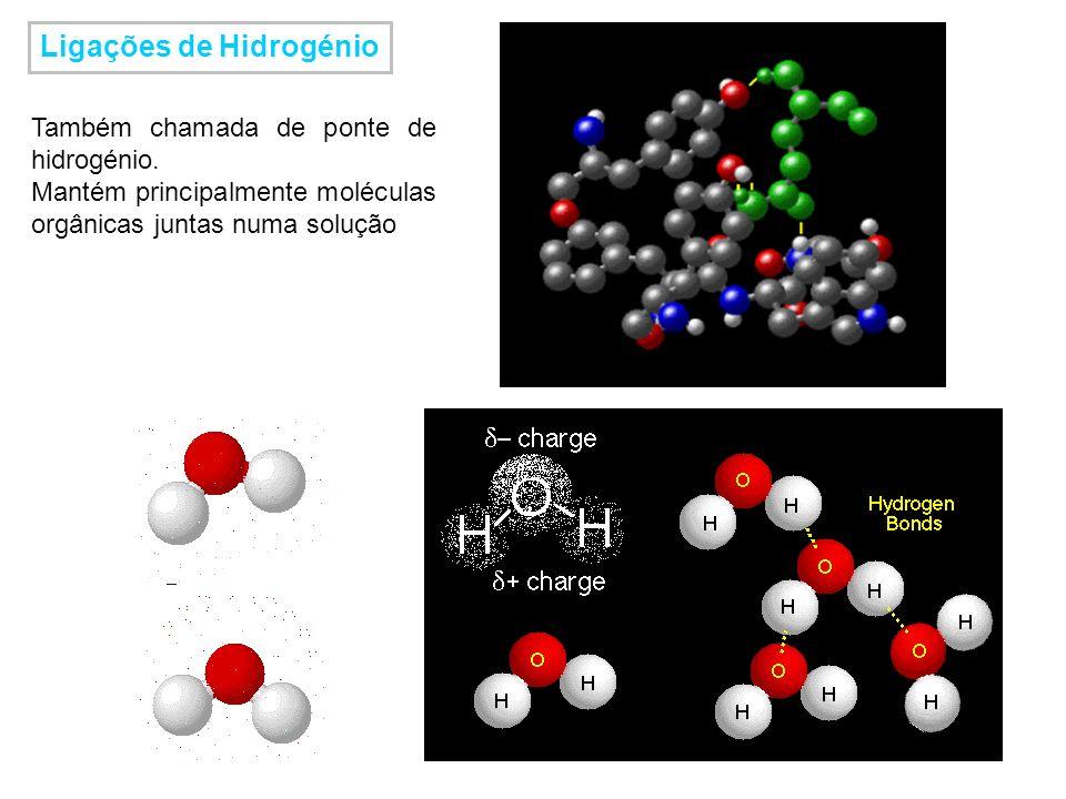 Ligações de Hidrogénio Também chamada de ponte de hidrogénio. Mantém principalmente moléculas orgânicas juntas numa solução