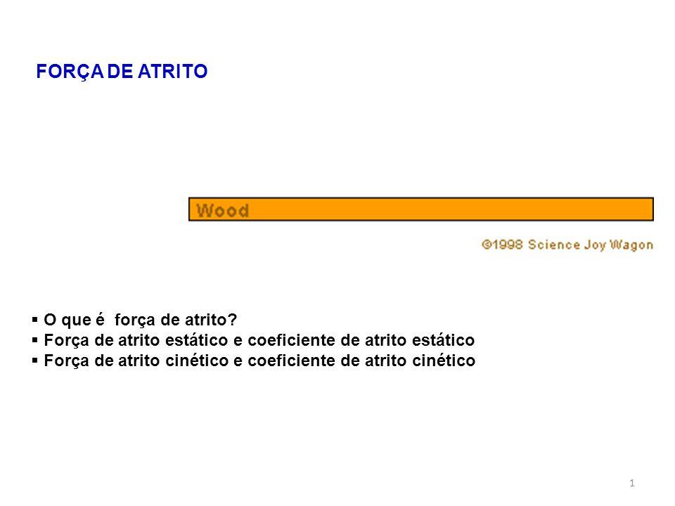 1 FORÇA DE ATRITO O que é força de atrito? Força de atrito estático e coeficiente de atrito estático Força de atrito cinético e coeficiente de atrito