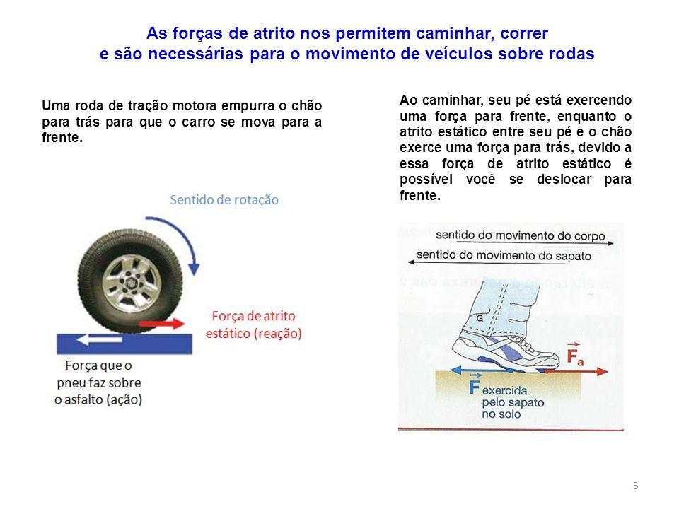 3 Uma roda de tração motora empurra o chão para trás para que o carro se mova para a frente. Ao caminhar, seu pé está exercendo uma força para frente,