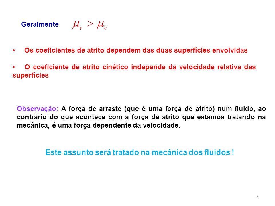 Os coeficientes de atrito dependem das duas superfícies envolvidas O coeficiente de atrito cinético independe da velocidade relativa das superfícies G