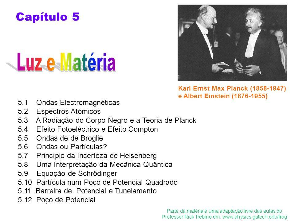 5.1 Ondas Electromagnéticas 5.2 Espectros Atómicos 5.3 A Radiação do Corpo Negro e a Teoria de Planck 5.4 Efeito Fotoeléctrico e Efeito Compton 5.5 On
