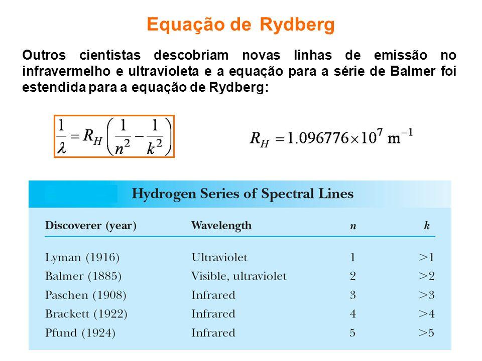 Equação de Rydberg Outros cientistas descobriam novas linhas de emissão no infravermelho e ultravioleta e a equação para a série de Balmer foi estendi