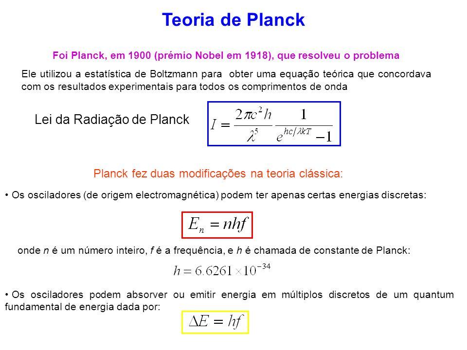 Teoria de Planck Foi Planck, em 1900 (prémio Nobel em 1918), que resolveu o problema Ele utilizou a estatística de Boltzmann para obter uma equação te