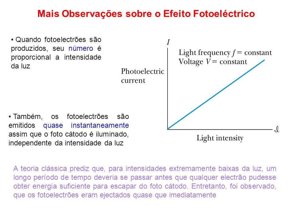 Mais Observações sobre o Efeito Fotoeléctrico Quando fotoelectrões são produzidos, seu número é proporcional a intensidade da luz A teoria clássica pr