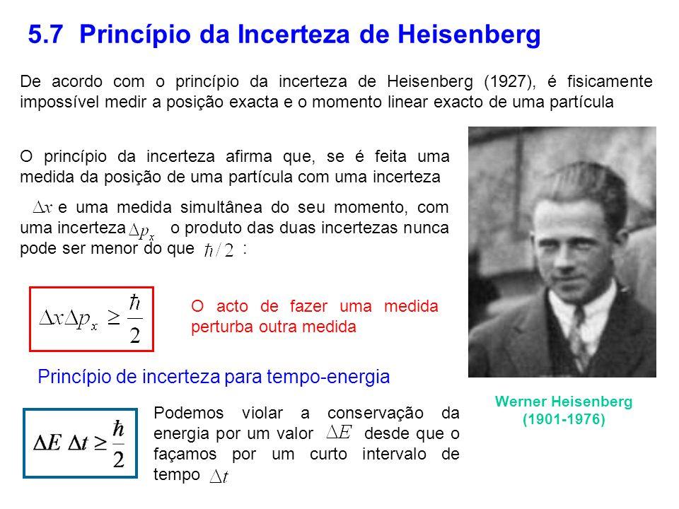 5.7 Princípio da Incerteza de Heisenberg Werner Heisenberg (1901-1976) De acordo com o princípio da incerteza de Heisenberg (1927), é fisicamente impo