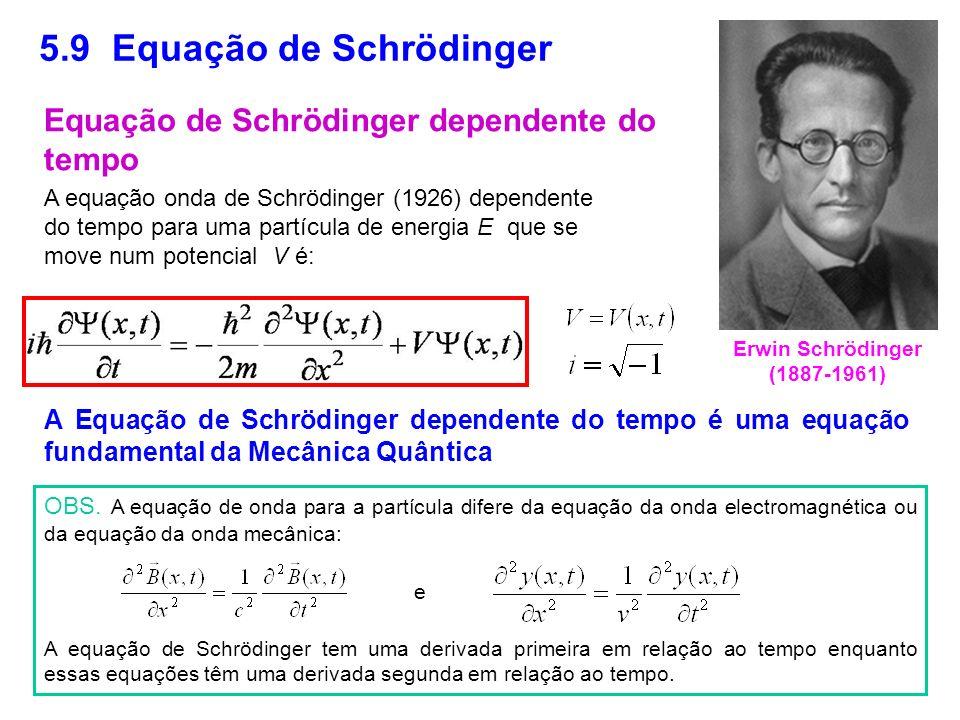 5.9 Equação de Schrödinger A equação onda de Schrödinger (1926) dependente do tempo para uma partícula de energia E que se move num potencial V é: A E