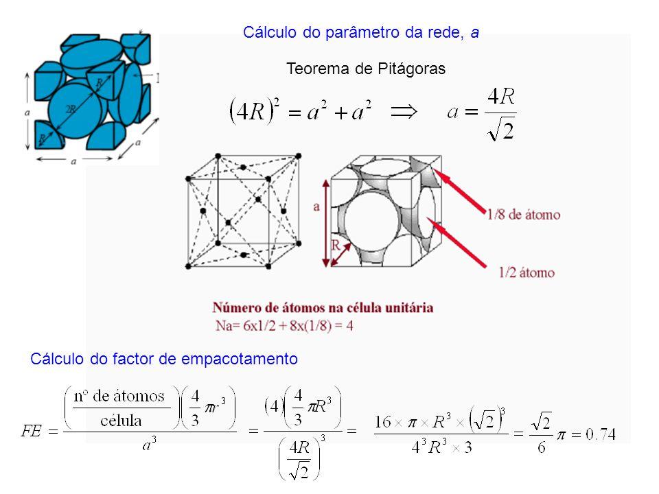 Cálculo do parâmetro da rede, a Teorema de Pitágoras Cálculo do factor de empacotamento
