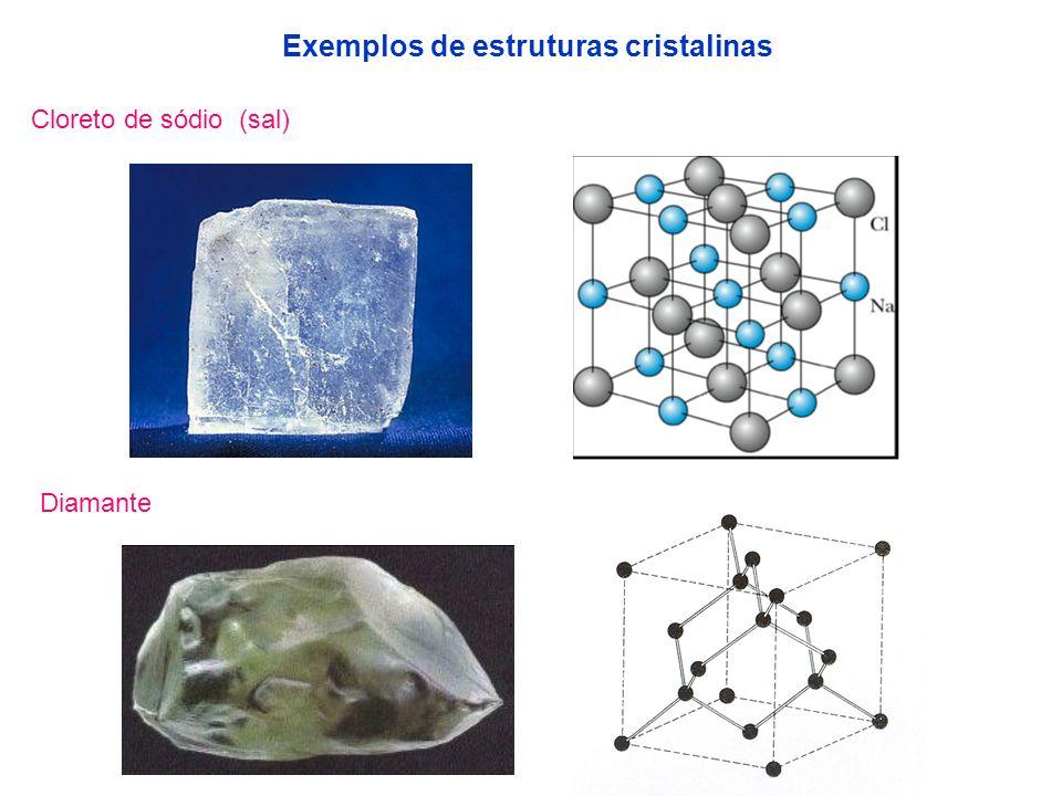 Cloreto de sódio (sal) Diamante Exemplos de estruturas cristalinas