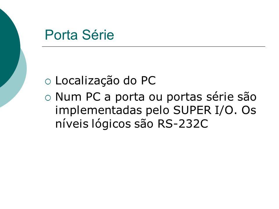 Porta Série Localização do PC Num PC a porta ou portas série são implementadas pelo SUPER I/O. Os níveis lógicos são RS-232C